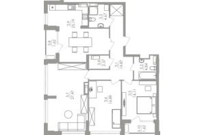 ЖК Greenville на Печерске: планировка 3-комнатной квартиры 111.2 м²