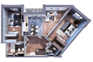 ЖК Greenville на Печерске: планировка 2-комнатной квартиры 84.8 м²