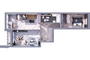 ЖК Greenville на Печерске: планировка 2-комнатной квартиры 81.1 м²