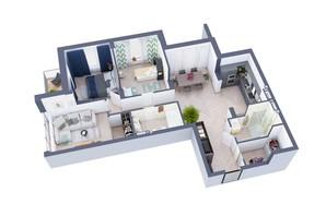 ЖК Greenville на Печерске: планировка 3-комнатной квартиры 105 м²