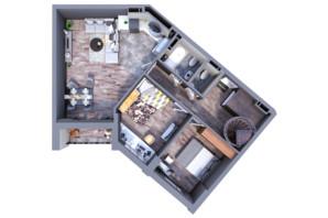 ЖК Greenville на Печерске: планировка 2-комнатной квартиры 113.6 м²