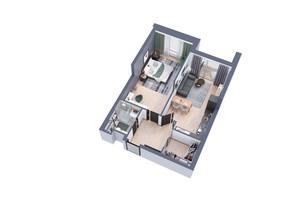 ЖК Greenville на Печерске: планировка 1-комнатной квартиры 58.4 м²