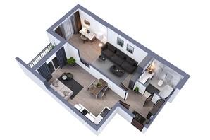 ЖК Greenville на Печерске: планировка 1-комнатной квартиры 63.8 м²