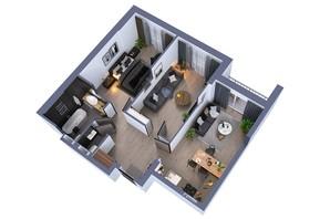 ЖК Greenville на Печерске: планировка 2-комнатной квартиры 69.9 м²