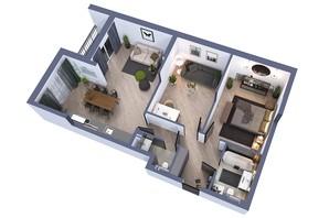 ЖК Greenville на Печерске: планировка 3-комнатной квартиры 85.35 м²