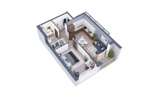 ЖК Greenville на Печерську: планування 1-кімнатної квартири 57.8 м²