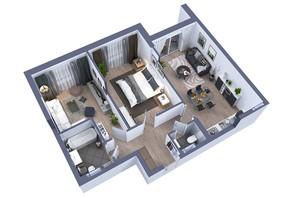 ЖК Greenville на Печерську: планування 2-кімнатної квартири 70.7 м²