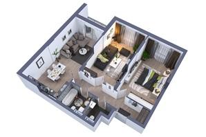 ЖК Greenville на Печерську: планування 2-кімнатної квартири 85.6 м²
