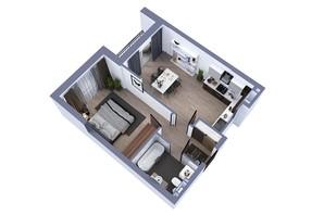 ЖК Greenville на Печерську: планування 1-кімнатної квартири 47 м²