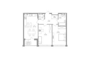 ЖК Greenville на Печерську: планування 2-кімнатної квартири 74.6 м²
