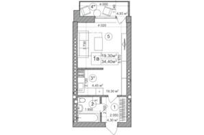 ЖК Greenwood: планировка 1-комнатной квартиры 34 м²