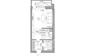 ЖК Greenwood: планировка 1-комнатной квартиры 34.9 м²