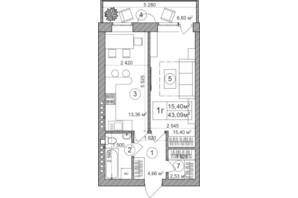ЖК Greenwood: планировка 1-комнатной квартиры 43.5 м²