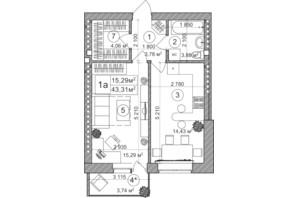 ЖК Greenwood: планування 1-кімнатної квартири 40.78 м²