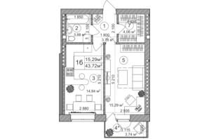 ЖК Greenwood: планування 1-кімнатної квартири 42.46 м²