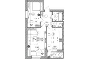 ЖК Greenwood: планування 2-кімнатної квартири 66.3 м²