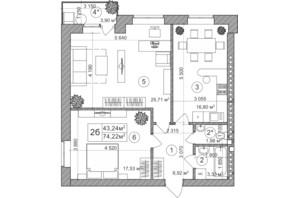 ЖК Greenwood: планування 3-кімнатної квартири 76 м²