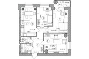 ЖК Greenwood: планування 3-кімнатної квартири 77 м²