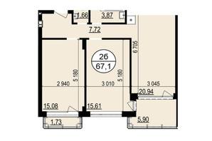 ЖК Грінвуд-2: планування 2-кімнатної квартири 67.2 м²