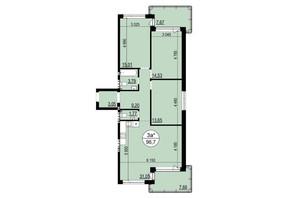 ЖК Грінвуд-2: планування 3-кімнатної квартири 96.7 м²