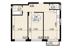 ЖК Грінвуд-2: планування 2-кімнатної квартири 64 м²