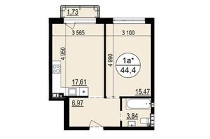 ЖК Грінвуд-2: планування 1-кімнатної квартири 44.4 м²