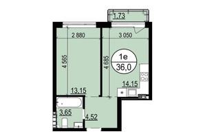 ЖК Грінвуд-2: планування 1-кімнатної квартири 36 м²