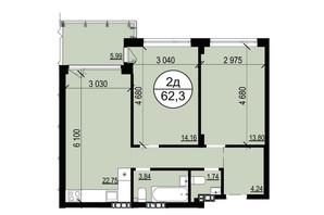 ЖК Грінвуд-2: планування 2-кімнатної квартири 61.6 м²