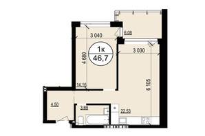 ЖК Грінвуд-2: планування 1-кімнатної квартири 46.7 м²