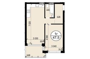 ЖК Грінвуд-2: планування 1-кімнатної квартири 47.5 м²