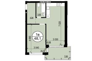 ЖК Грінвуд-2: планування 1-кімнатної квартири 48.1 м²
