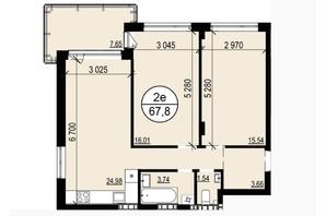 ЖК Грінвуд-2: планування 2-кімнатної квартири 67.7 м²