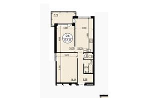 ЖК Грінвуд-2: планування 2-кімнатної квартири 67 м²