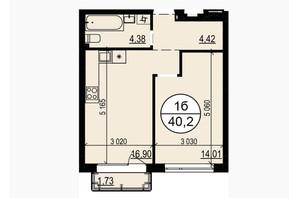 ЖК Грінвуд-2: планування 1-кімнатної квартири 40.2 м²