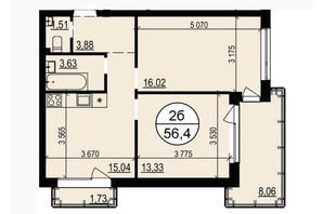 ЖК Грінвуд-2: планування 2-кімнатної квартири 56.4 м²
