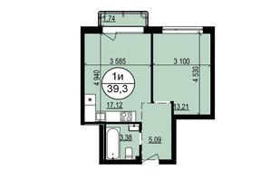 ЖК Грінвуд-2: планування 1-кімнатної квартири 39.3 м²