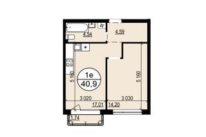 ЖК Грінвуд-2: планування 1-кімнатної квартири 40.9 м²