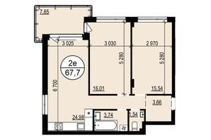 ЖК Грінвуд-2: планування 2-кімнатної квартири 66.7 м²