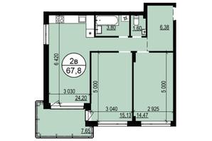 ЖК Грінвуд-2: планування 2-кімнатної квартири 67.9 м²