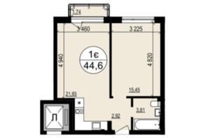 ЖК Грінвуд-2: планування 1-кімнатної квартири 44.6 м²