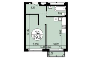 ЖК Грінвуд-2: планування 1-кімнатної квартири 39.6 м²