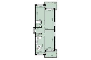 ЖК Грінвуд-2: планування 3-кімнатної квартири 91.7 м²