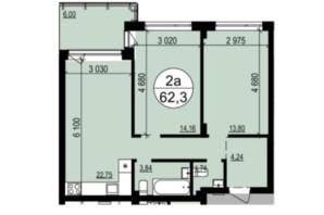 ЖК Грінвуд-2: планування 2-кімнатної квартири 62.3 м²