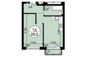 ЖК Грінвуд-2: планування 1-кімнатної квартири 39.5 м²