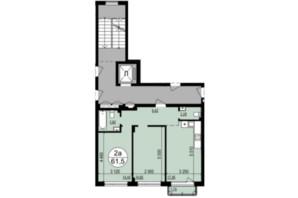 ЖК Грінвуд-2: планування 2-кімнатної квартири 61.5 м²