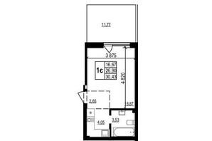 ЖК Грінвуд-2: планування 1-кімнатної квартири 30.4 м²