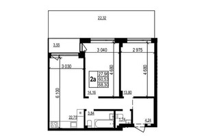 ЖК Грінвуд-2: планування 2-кімнатної квартири 68.3 м²