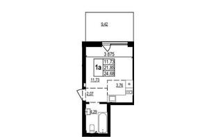 ЖК Грінвуд-2: планування 1-кімнатної квартири 24.7 м²