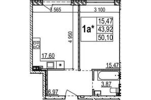 ЖК Грінвуд-2: планування 1-кімнатної квартири 50.1 м²
