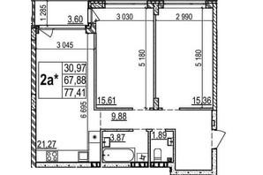 ЖК Грінвуд-2: планування 2-кімнатної квартири 77.4 м²